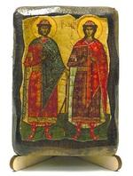 Борис и Глеб Св. Блв., икона под старину, на дереве (8x10)