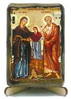Иоаким и Анна, икона под старину, на дереве (8x10)