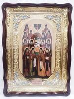 Оптинские старцы, в фигурном киоте, с багетом. Храмовая икона (60 Х 80)