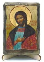 Александр Невский, икона под старину, на дереве (8x10)