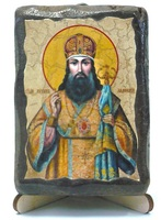 Тихон Задонский, святитель, икона под старину, на дереве (8x10)