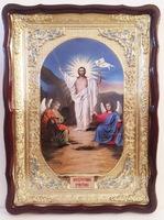 Воскресение Христово, в фигурном киоте, с багетом. Храмовая икона 60 Х 80 см.
