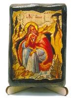Илья Пророк, икона под старину, на дереве (8x10)