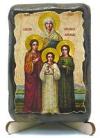 Вера, Надежда, Любовь, и мать их София, икона под старину, на дереве (8x10)