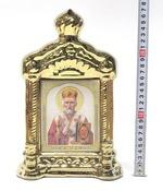Николай Чудотворец, керамика, икона купол большая, цвет золото (СА).