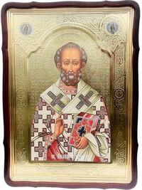 Николай Чудотворец (пояс, без митры), в фигурном киоте, с багетом. Большая Храмовая икона 80 Х 110 см.