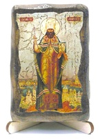 Вениамин Петроградский, икона под старину, на дереве (8x10)