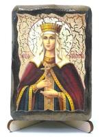 Людмила, Св.Мч., икона под старину, на дереве (8x10)