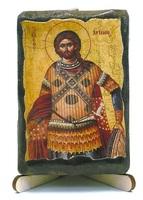 Артемий Антиохийский, икона под старину, на дереве (8x10)