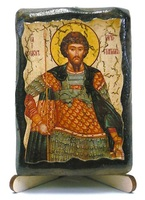 Феодор Стратилат Вмч., икона под старину, на дереве (8x10)
