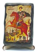 Дмитрий Солунский, икона под старину, на дереве (8x10)