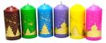 """Свеча столб 56*120 с рисунком """"Новогодняя ночь"""", (цвет микс), C 01-30"""