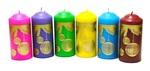"""Свеча столб 56*120 с рисунком """"Елочные шары"""", (цвет микс), C 01-28"""
