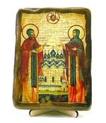 Петр и Феврония, икона под старину, на дереве (13х17)