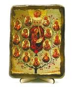 Древо Богородицы, икона под старину, на дереве (13х17)