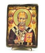 Николай Чудотворец с Предстоящими, икона под старину, на дереве (13х17)