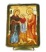 Иоаким и Анна, икона под старину, на дереве (13х17)