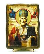 Николай Чудотворец в митре, икона под старину, на дереве (13х17)