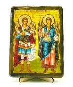 Михаил и Гавриил, икона под старину, на дереве (13х17)
