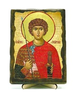 Георгий Победоносец (пояс), икона под старину, на дереве (13х17)