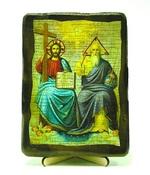 Троица Новозаветная, икона под старину, на дереве (13х17)
