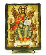 Вседержитель на троне, икона под старину, на дереве (13х17)