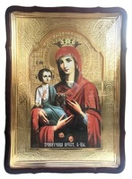Троеручица Б.М.(2), в фигурном киоте, с багетом. Храмовая икона 60 Х 80 см.