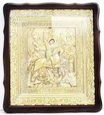 Георгий, убивающий змея. Храмовая икона в фигурном киоте, в ризе, с багетом, 38 Х 44