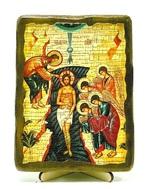 Крещение Господне, икона под старину, на дереве (13х17)