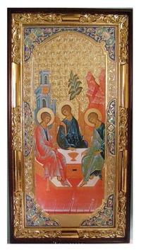 Троица (рост), с багетом. Большая Храмовая икона (58 х 110)