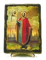 Александр Невский (рост), икона под старину, на дереве (13х17)