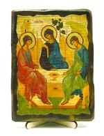 Троица Рублевская, икона под старину, на дереве (13х17)