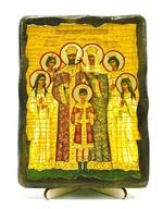 Царская семья, икона под старину, на дереве (13х17)