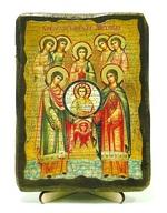 Собор архангела Михаила, икона под старину, на дереве (13х17)