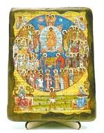 Собор всех святых, икона под старину, на дереве (13х17)