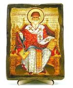 Спиридон Тримифунтский (трон), икона под старину, на дереве (13х17)