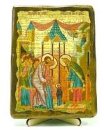 Введение во Храм Пресвятой Богородицы, икона под старину, на дереве (13х17)