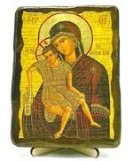 Достойно есть Б.М. (светлый фон), икона под старину, на дереве (13х17)