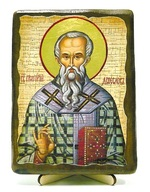 Григорий Двоеслов, Святитель, Папа Римский, икона под старину, на дереве (13х17)