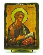 Апостол Матфей, икона под старину, на дереве (13х17)