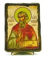 Владислав Сербский, икона под старину, на дереве (13х17)
