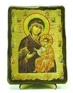 Иверская Б.М. с предстоящими, икона под старину, на дереве (13х17)
