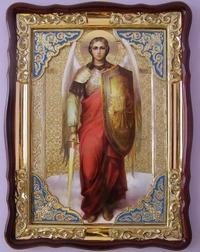 Арх. Михаил (рост), в фигурном киоте, с багетом. Храмовая икона (82 Х 114)