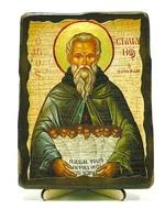 Стилиан Пафлагонянин, икона под старину, на дереве (13х17)