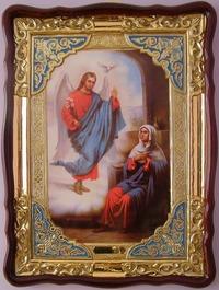 Благовещение, в фигурном киоте, с багетом. Храмовая икона (82 Х 114)