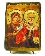 Николай и Богородица, икона под старину, на дереве (13х17)
