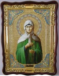 Матрона Московская, в фигурном киоте, с багетом. Храмовая икона (82 Х 114)