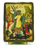 Сошесвие в ад, икона под старину, на дереве (13х17)