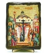 Воздвижение Креста Господня, икона под старину, на дереве (13х17)