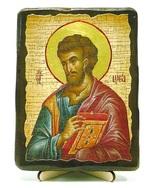 Евангелист Лука (красное одеяние), икона под старину, на дереве (13х17)